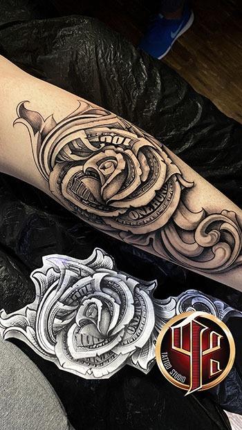 Dolar Cash Tattoo im Tattoo Studio Pattos Keppos in Wien - story